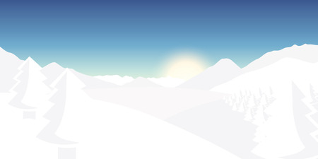 winter landscape snowy mountains background vector illustration EPS10