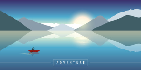 adventure in the nature canoeing on a calm sea with mountain view vector illustration EPS10 Çizim