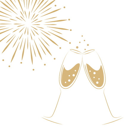 two champagne glasses and fireworks on a white background vector illustration EPS10