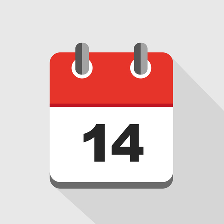 vector illustration of red calendar 14 icon EPS10