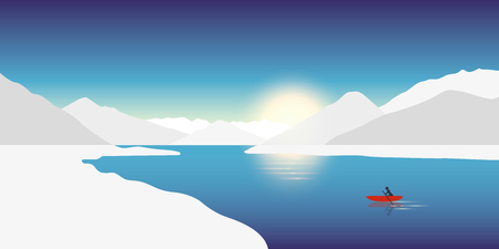 lonely canoeing adventure concept red boat in a winter landscape with snowy mountains vector illustration EPS10