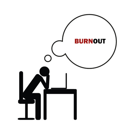 exhausted business man at his desk pictogram concept of stress, burnout, headache, depression