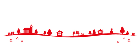 red christmas winter landscape border with church firs houses and gifts vector illustration EPS10 Ilustração
