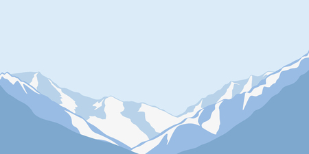 blue snowy mountains winter landscape background vector illustration EPS10