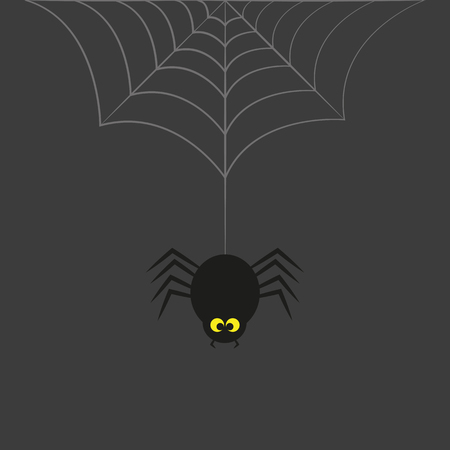 black spider with yellow eyes hangs on cobweb on a grey background Banco de Imagens