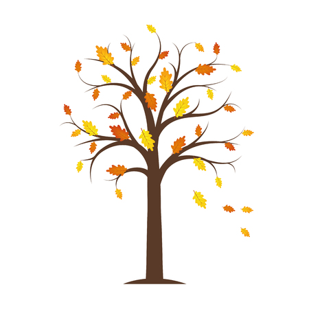 autumn tree with yellow and orange fallen leaves isolated on a white background vector illustration EPS10
