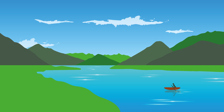 lonely canoeing on the river adventure in the summer with green mountain landscape vector illustration EPS10 Standard-Bild - 109938200