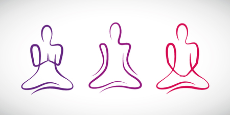 person doing yoga in different positions line drawing vector illustration EPS10