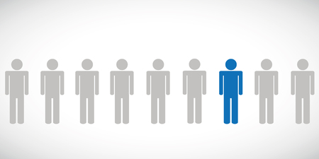 one blue individual person between other pictogram Illustration