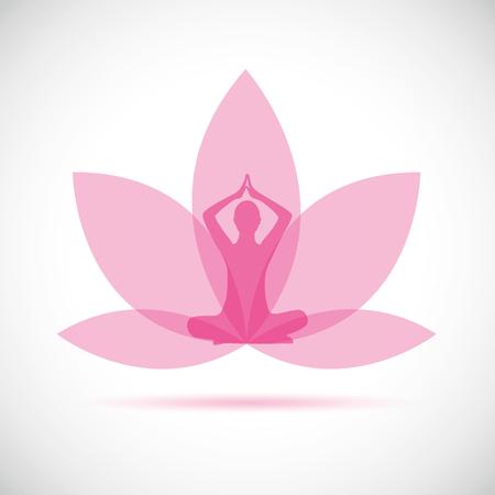 giovane seduto in meditazione yoga posizione del loto silhouette con giglio rosa illustrazione vettoriale EPS10