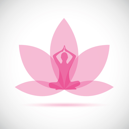 young person sitting in yoga meditation lotus position silhouette with pink lily vector illustration EPS10