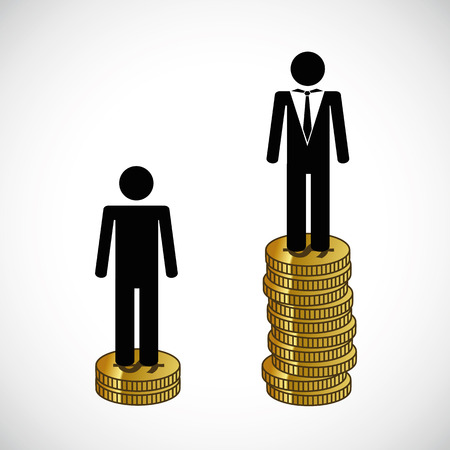 poor and rich man stand on a tower of money infographic Illustration