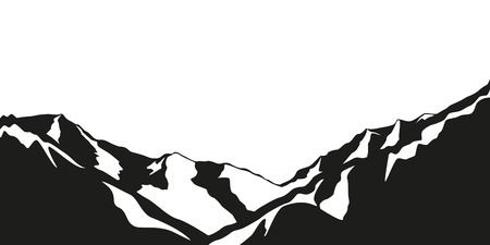 snowy mountains black and white vector illustration EPS10