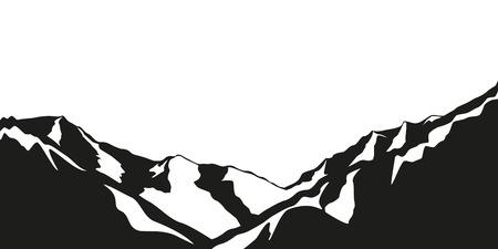snowy mountains black and white vector illustration EPS10 Stok Fotoğraf - 109900292