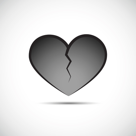 grey broken heart isolated on a white background vector illustration EPS10