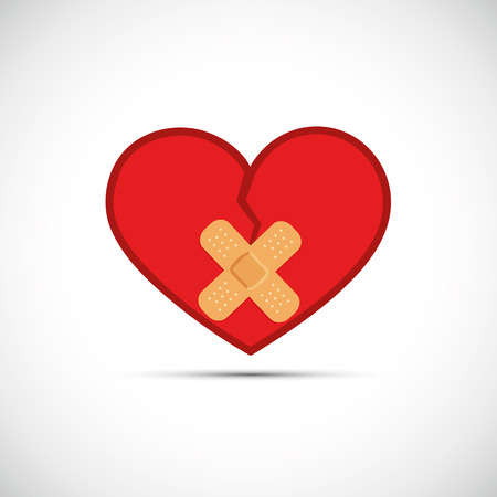 red broken heart with two adhesive plaster vector illustration EPS10