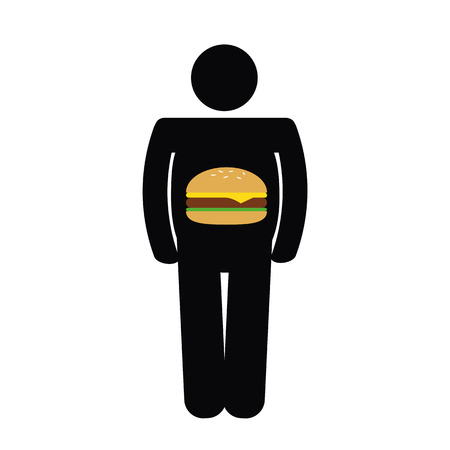 fat man have an unhealthy fast food burger in the belly pictogram vector illustration EPS10