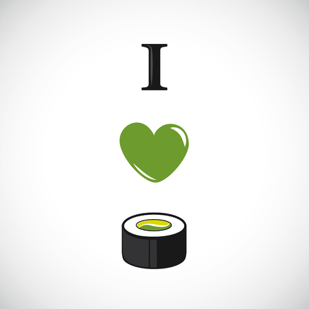 I love sushi with avocado and cucumber heart design
