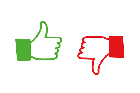 Like and dislike two hands icon vector illustration EPS10 Иллюстрация