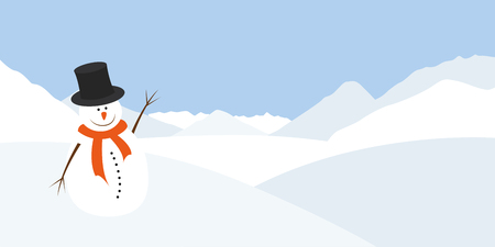 snowman with an orange scarf waves in a winter landscape vector illustration EPS10