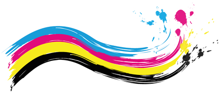 illustration of cmyk printing color wave with splashes of color
