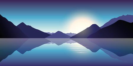 blue mountain and ocean landscape in the dusk Standard-Bild - 109353769
