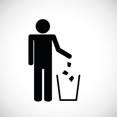 garbage symbol pictogram isolated on white background Ilustração