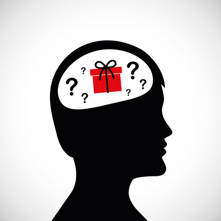 man think about gift idea in the head silhouette vector illustration EPS10 Illustration