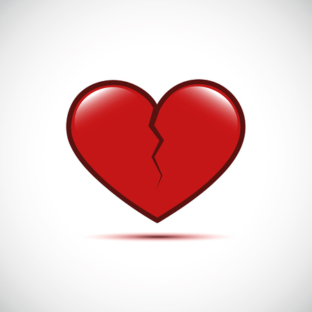 red broken heart isolated on a white background vector illustration EPS10