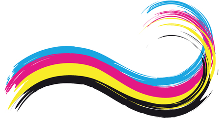 illustration of cmyk printing color wave