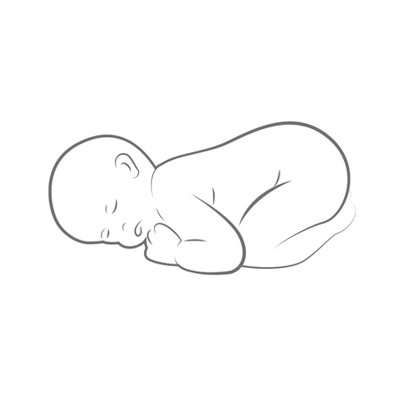 new born baby is sleeping line drawing outlline