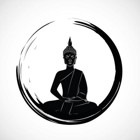 Círculo zen con meditación buda silueta ilustración vectorial EPS10 Ilustración de vector
