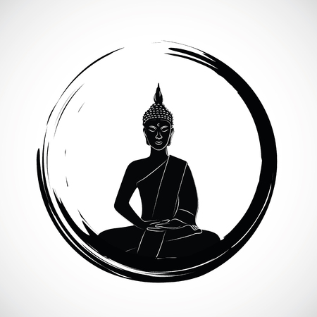 zen circle with meditation buddha silhouette vector illustration EPS10