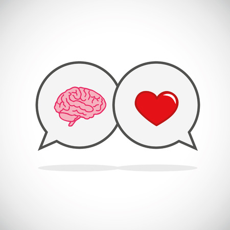 heart and brain concept conflict between emotions and rational thinking vector illustration EPS10