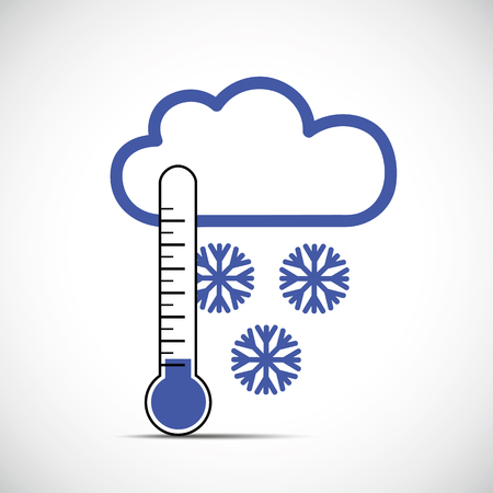 thermometer and snow winter icon vector illustration