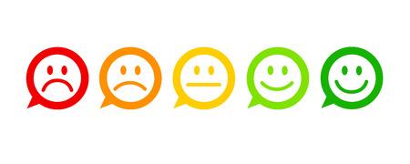 Bewertung Zufriedenheit Feedback in Form von Emotionen ausgezeichnet gut normal schlecht schrecklich Sprechblase Vektor-Illustration