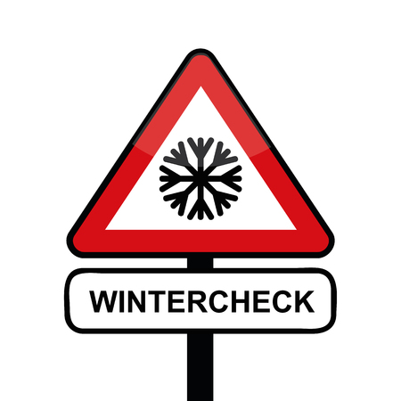 triangle road sign with snowflake icon winter check typography vector illustration