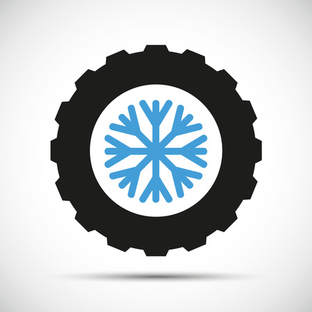winter car tires with snowflake icon vector illustration