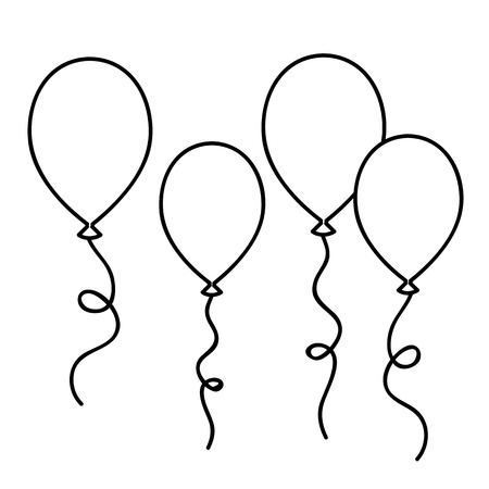 balloons simple drawing outline for coloring book vector illustration
