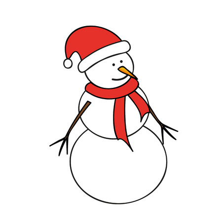 snowman with red cap and scarf vector illustration EPS10 Vecteurs