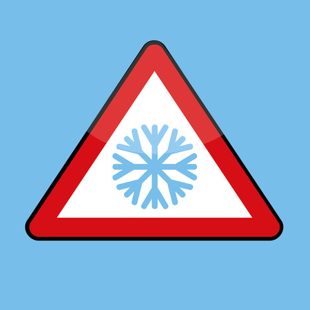 triangle road sign with snowflake for cold winter vector illustration EPS10 Vetores