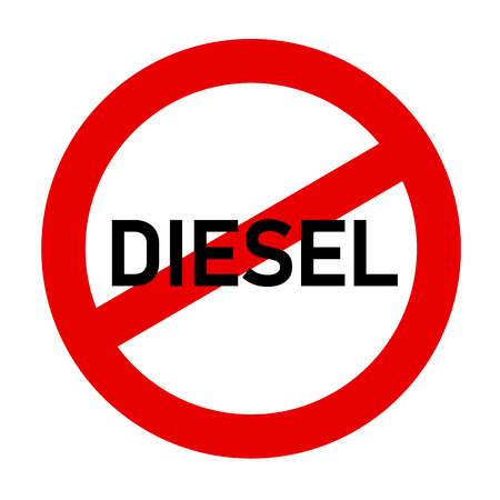 red traffic sign diesel prohibited emission scandal vector illustration EPS10