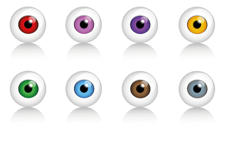 set of human eyes in different colors vector illustration EPS10