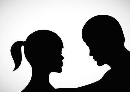 man consoles woman sad couple silhouette vector illustration EPS10