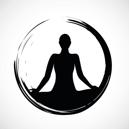 person sitting in yoga lotus position in black circle vector illustration EPS10