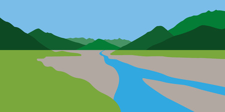 green summer mountain landscape with blue creek vector illustration EPS10