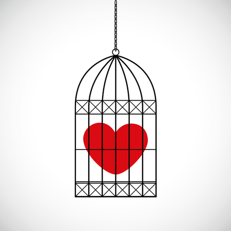 red heart in a bird cage vector illustration EPS10 Illustration