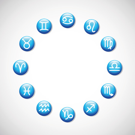 zodiac signs horoscope astrological symbols in a circle vector illustration EPS10