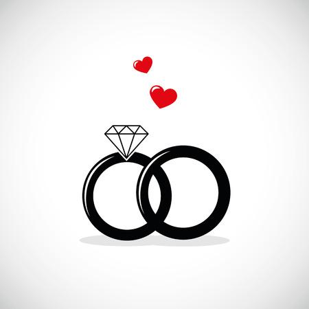 wedding rings icon with red heart vector illustration EPS10 Vektoros illusztráció
