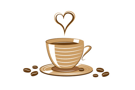 love cup of coffee hot drink vector illustration EPS10
